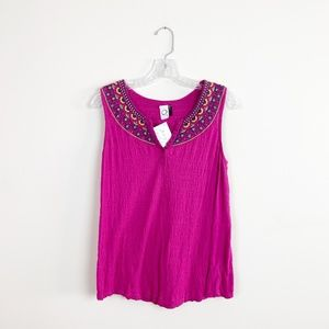 Anthropologie | gauze embroidered sleeveless top S